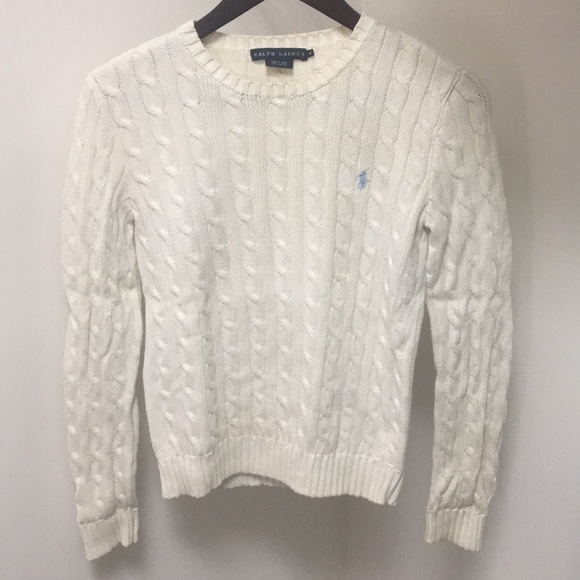 Ralph Lauren Sweaters Womens White Cable Knit Sweater Poshmark